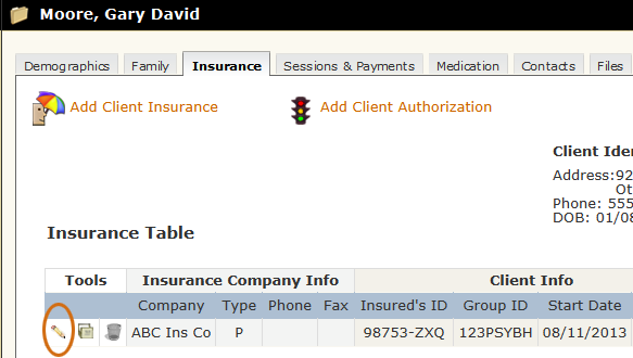 Edit Client Insurance tool