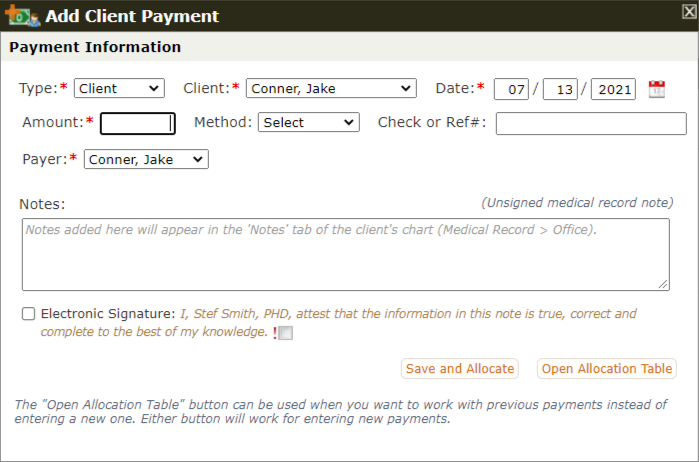 The Add Client Payment form