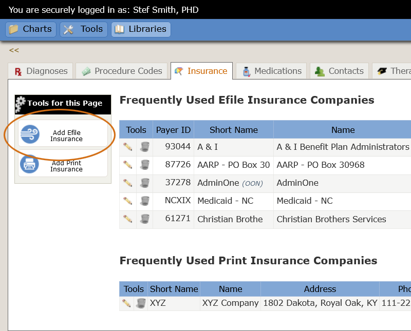 Add Efile Insurance tool
