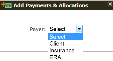 The Add Payment initial popup