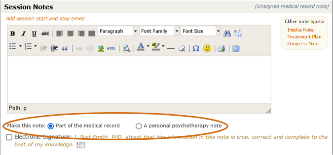 Medical record vs. psychotherapy notes