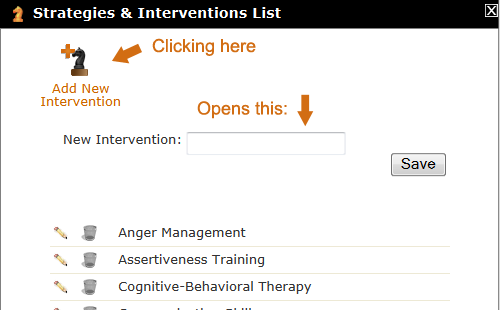 Add New Intervention tool