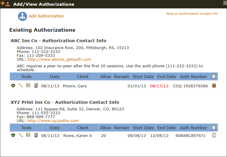 The Add/View Authorizations tool with existing auths