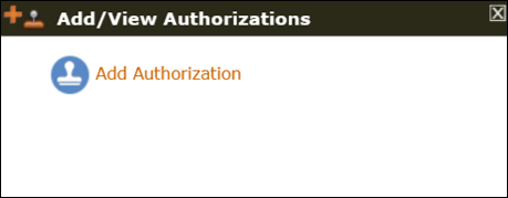 The Add/View Authorizations tool with no existing auths