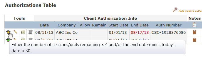Table tools on the Add/View Authorizations tool