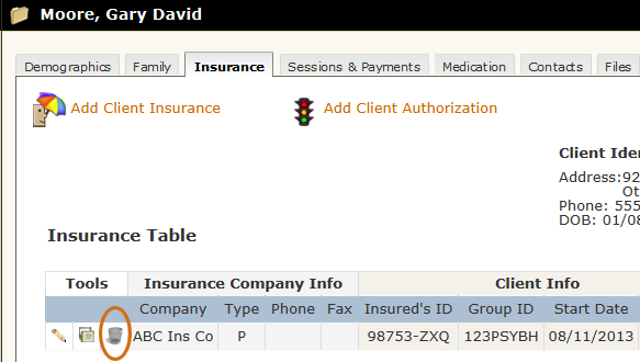 Delete Client Insurance tool