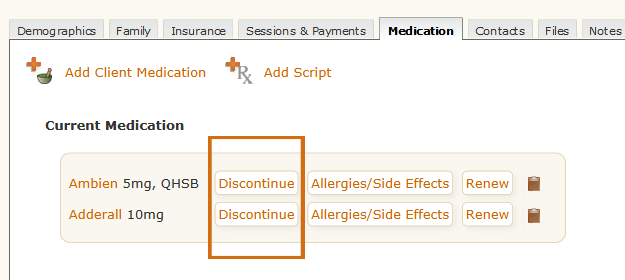 Discontinue Medication