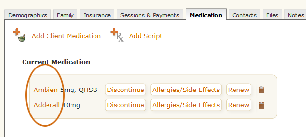 Edit Medication tool