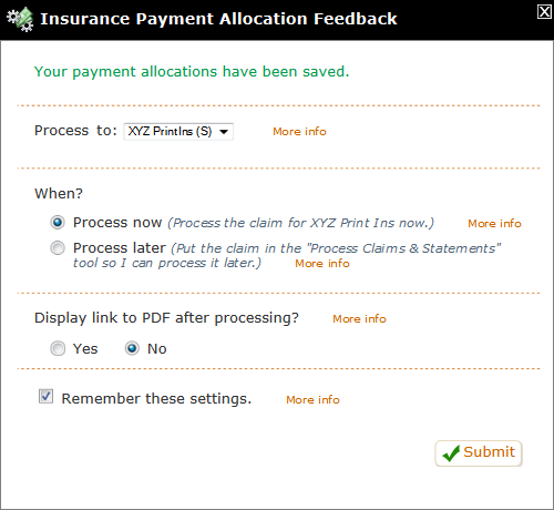 Add Insurance Payment Feedback