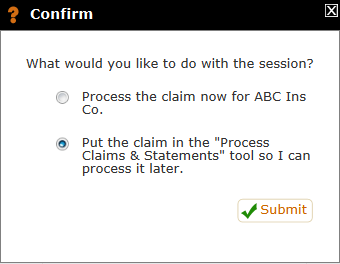 Process confirm for claims