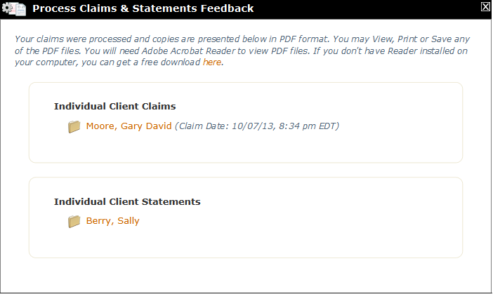 Process Claims & Statements feedback