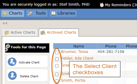 Select client checkbox on archived chart's page