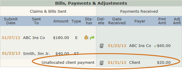 Unallocated Client Payment
