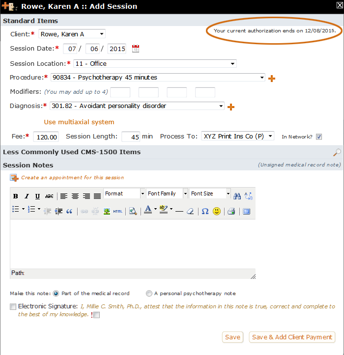 An Authorization message on an Add Session form