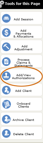 The Add/View Authorizations tool