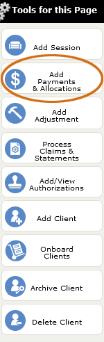 The Add Payment tool