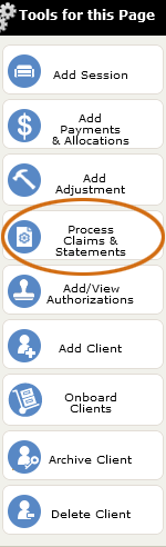 The Process Claims & Statements tool
